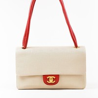 Chanel Taupe Red Perforated Leather Rolled Handle Flap Bag