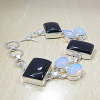 Beautiful Black Onyx&Opalite 925 Silver Overlay Bracelet 210mm x 25mm,Gifts Under 10,20,30 ,Silver Onyx Bracelet