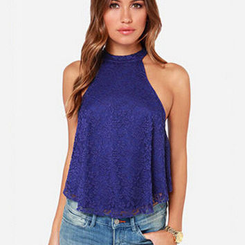 Halter Sleeveless Back Cut-Out Lace Cropped Top