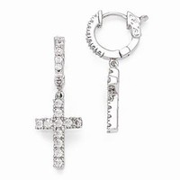 Sterling Silver Rhodium Plated CZ Hinged Hoop Dangle Cross Earrings