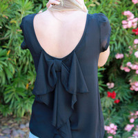 """Bow Around"" Blouse: Cap Sleeve/Black by Hello Glam 