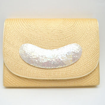 Vintage Straw Purse with Mother of Pearl Trim, Clutch or Shoulder Bag, Perfect Spring or Summer Purse, circa 1970s