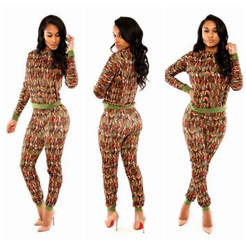 Camouflage Print Long Sleeve Top and Pants Set