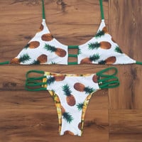 Pineapple Print Two Sides Wear Set Bikini Swimsuit Swimwear