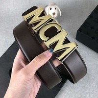 MCM Fashion Women Casual Smooth Buckle Belt Leather Belt Coffee