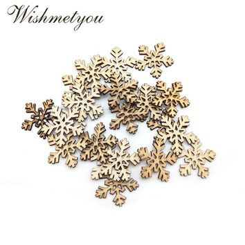 WISHMETYOU 50Pcs Nature Wood Snowflakes Diy Embellishments Crafts For Decor Christmas Party Wood Slices Handmade Accessories New