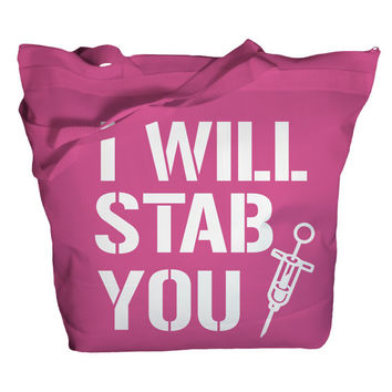 Tote Bag Funny Nursing Bags I Will Stab You Nurse Totes Bags For Nurses Zippered Top Recycled