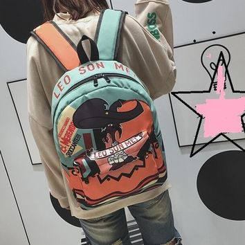University College Backpack Creative Multicolor Panelled Bookbag For Student Personality Funny Graffiti Printing   SchoolbagAT_63_4