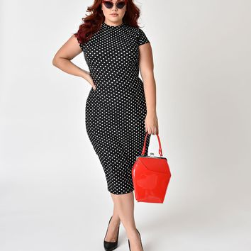 Unique Vintage Plus Size 1960s Black & White Polka Dot Knit Cap Sleeve Holly Wiggle Dress