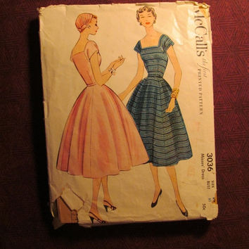 Sale Complete 1950's McCall's Sewing Pattern, 3036! Size 14 Bust 32/Small/Medium/Women's/Misses/Full Flared Skirt/Kimono Sleeves/Short Sleev