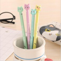 Cute Cartoon candy color Cat Gel Pen Kawaii Stationery Pens Material Escolar School Stationery