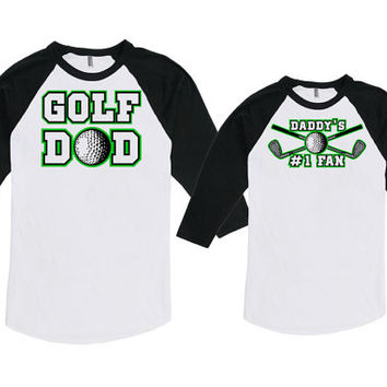 Matching Father And Baby Father Daughter Shirts Dad And Son Gift Golf Dad Daddy's #1 Fan Bodysuit American Apparel Unisex Raglan MAT-728-729