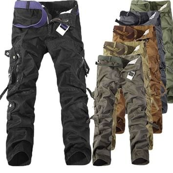 Mens Pants Multi Pockets Military Overalls Men's Cargo Casual Pants Men Outdoors High Quality Male Long Trousers 30-42 Plus Size