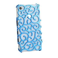 NEW Electroplating Hollow Pattern PC Case, Blue Hard Back Cover for iPhone 4S and 4