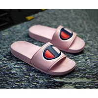 Champion Summer Fashion Women Casual Big Logo Beach Sandals Slippers Shoes Pink
