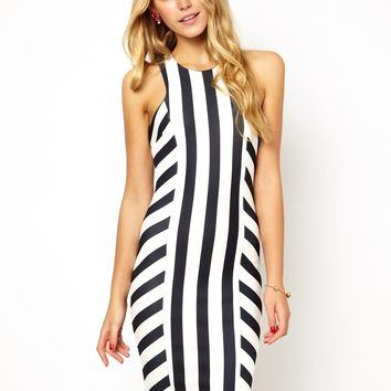Jessica Wright Sienna Stripe Bodycon Dress - black