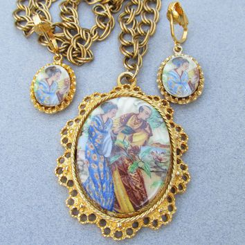 Unsigned Florenza Asian Courting Couple Gold Filled Necklace & Earrings Set