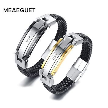 Meaeguet Free Engraving Personalized Stainless Steel Leather Bracelet For Couple Women Men Accessories Bracelet Jewelry