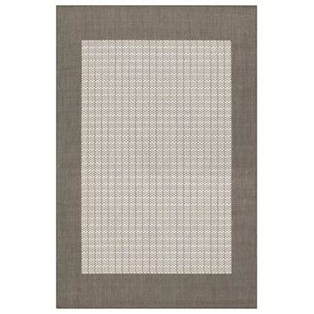 Couristan Recife Checkered Field Rug In Grey-White