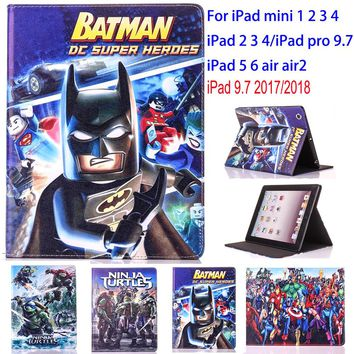 Tablet Case for Apple ipad 2 3 4 5 6 air air 2 ipad 9.7 2017 2018 ipad mini 1 2 3 ninja turtle protective Cover stand coque para