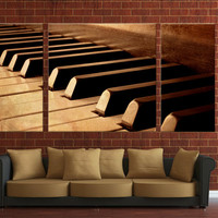 Vintage piano canvas print, ready to hang on wall 3 panels framed canvas