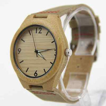 2016 New Brand Bamboo Watch Wooden Watches Genuine Cowhide Leather Band Luxury
