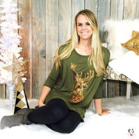 Fashion Print Deer Christmas T-shirts [9609317711]