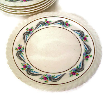Vintage Monticello Steubenville for Herman C. Kupper China Set of 6 Bread and Butter Plates Discontinued Regency