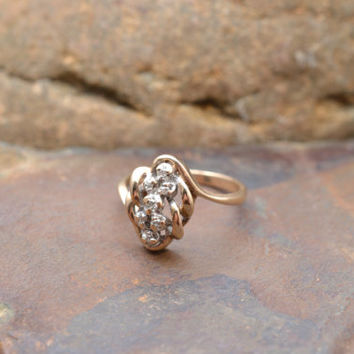 Vintage 10K Yellow Gold Engagement Ring with 7 Diamond Accents