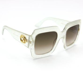 Gucci 0053S Square Sunglasses Silver Crystal Frame with Brown Gradient Lenses