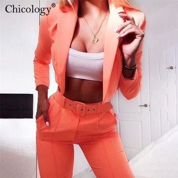 Chicology crop blazer top belt high waist pant 2019 summer sexy 2 piece co ord set office women suit neon lady business clothing