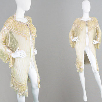 Vintage 70s Open Knit Crochet Cardigan Sweater Draped Cardigan Avant Garde Boho Hippie Clothing Gypsy Jacket Cut Out Sleeves Wearable Art
