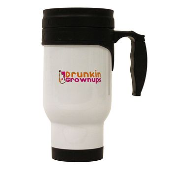 Drunken Grown ups Funny Drinking Stainless Steel 14oz Travel Mug by TooLoud