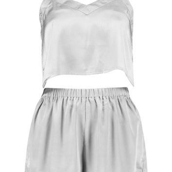 Kara Satin Crop Vest And Shorts Night Set | Boohoo