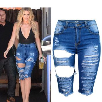 Boyfriend Denim Short Jeans Stretchable High Waist Ripped Skinny Pencil Shorts