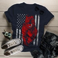 Shirts By Sarah Women's American Pitbull T-Shirt USA Flag Patriotic Dog Shirts