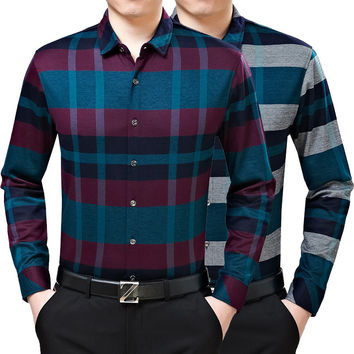 Summer Men Blouse Cotton Plaid Long Sleeve Shirt Casual Shirt [6544331395]