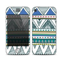 The Abstract Blue and Green Triangle Aztec Skin for the Apple iPhone 4-4s