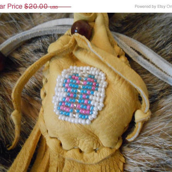 ON SALE Butterfly Beaded Medicine Bag, Small Leather Pouch, Native American Inspired, Powwow, Handmade, Fringe Pouch, Hippie, Boho, Gypsy