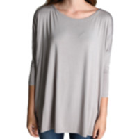 Authentic Piko 3/4 Sleeve Top, Silver