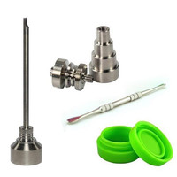 1 set Domeless GR2 Titanium Nail Dabber Carb Cap Silicone Jar Container free shipping