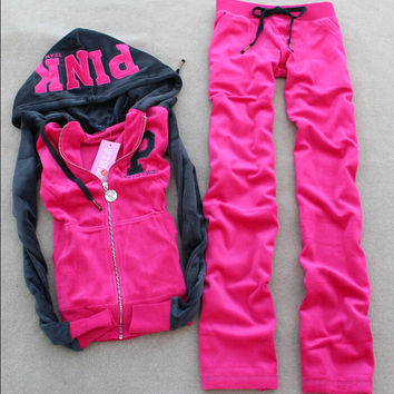 Hot-selling 2016 women's autumn Hoodies PINK color block velvet sweatshirt, Two Pieces Velvet  Suit  Free Shipping