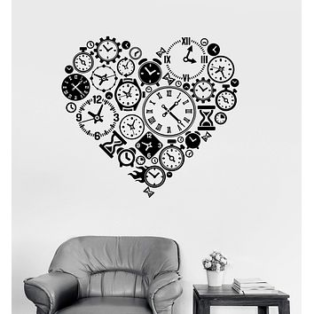 Vinyl Wall Decal Clock Time Love Heart Steampunk Room Watchmaker Art Stickers Unique Gift (ig3098)