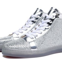 Christian Louboutin Louis Strass Men's Women's Flat Silver Edelweiss Leather