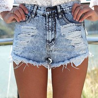 PRE ORDER - SLASH ACID SHORTS (Expected Delivery 25th July, 2014) , DRESSES, TOPS, BOTTOMS, JACKETS & JUMPERS, ACCESSORIES, 50% OFF , PRE ORDER, NEW ARRIVALS, PLAYSUIT, COLOUR, GIFT VOUCHER,,SHORTS,Blue,MINI Australia, Queensland, Brisbane