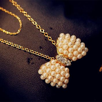 N404 Style Fashion Small Fresh Bow Simulated Pearl Necklace Jewelry Bijoux Collares