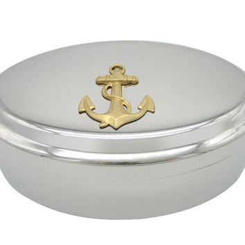 Gold Toned Nautical Roped Anchor Pendant Oval Trinket Jewelry Box