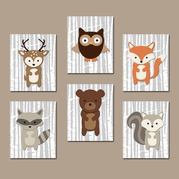 WOODLAND Nursery Wall Art, WOODLAND Nursery Decor, Canvas or Prints, Birch Wood Forest Animals Art, Fox Bear Deer Owl Raccoon, Set of 6
