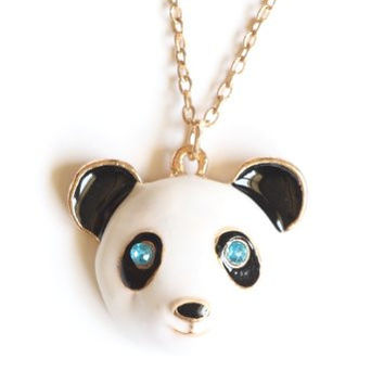 Panda Bear Necklace Crystal Cute Teddy Vintage NE07 Retro Black Gold Tone Pendant