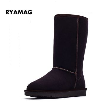 2017 Women's Winter Tall Snow Boots Warm Long Plush Genuine Leather Thigh High Boots Australia Platform Shoes for Girls